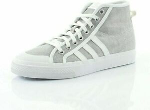 Adidas-Originals-Nizza-Hi-Womens-Girls-White-amp-Silver-Trainers-UK-5