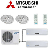 Dual Zone Inverter Ductless Mini Split Air Conditioner - Heat Pump: W/ 25ft Kits
