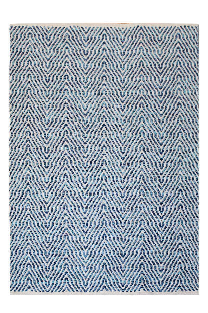 Handgewebter Tapis FLACHFLOR Tapis Fait Main 100% Laine Bleu 160x230cm