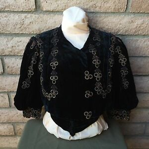 Antique-1890s-Victorian-Shirt-Bodice-Midnight-Blue-Applied-Trim-Decoration-Boned