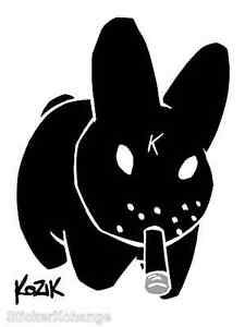 Mini Size Bong Bunny Sticker Decal Frank Kozik KZ27B