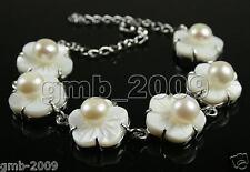 Natural 6-7mm White Akoya Freshwater Pearl Shell Flower Bangle Bracelet