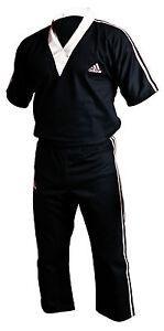 adidas-Kickboxanzug-schwarz-weiss-Kickbox-Anzug-Kickboxen-Gr-150-190