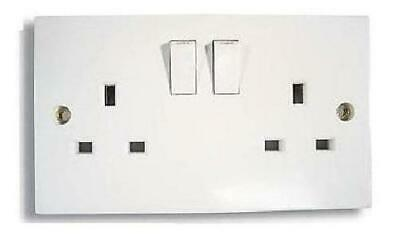 Twin Double Switched Socket White 13amp Plug 2 Gang 240