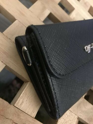 Wallet Off Unisex White Logo Metal Genuine Leather Black qS5xxR