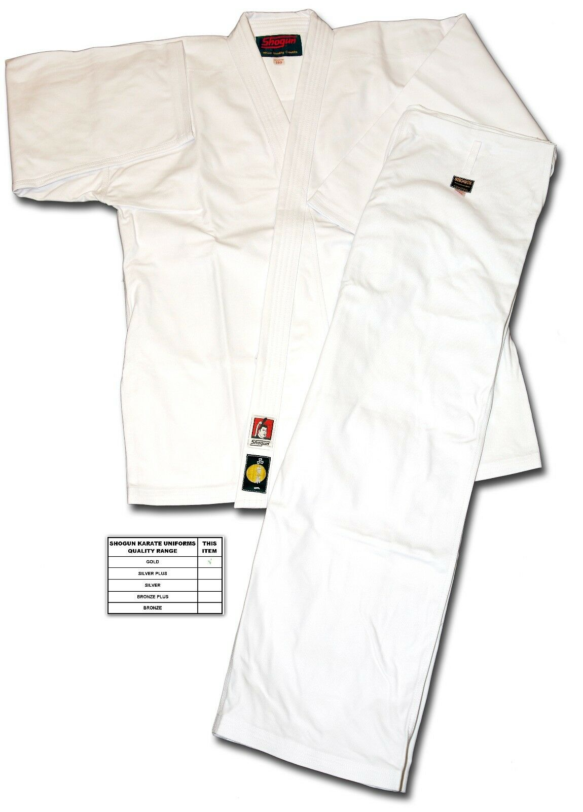 Shogun Karate gold Uniform size 155, 100% fine quality cotton - SPECIAL OFFER