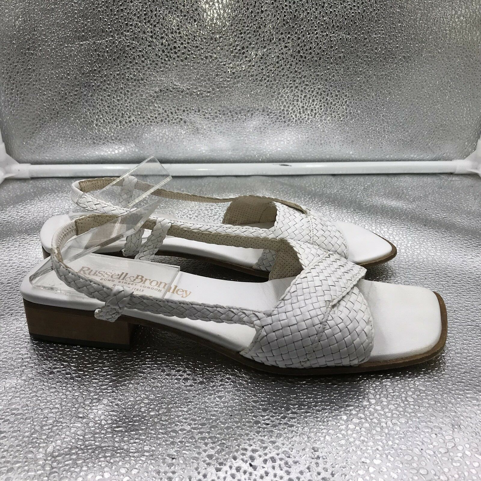 Russell Bromley & Bromley Russell Damenschuhe Sz 6.5 39.5 Weiß Woven Leder Sandales Vintage Style ba025e