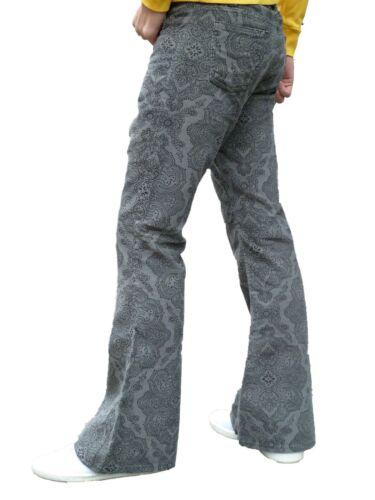 Flares Grigio Motivo Cachemire Uomo Bell Bottoms Pantaloni di Velluto Vintage