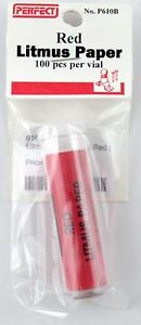 red litmus test paper 100 pcs per vial perfect parts co p610b