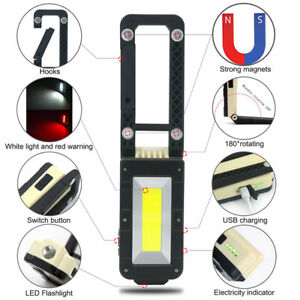 Multi-Use-LED-Work-Light-USB-Rechargeable-Magnetic-Camping-Lamp-COB-Flashlight