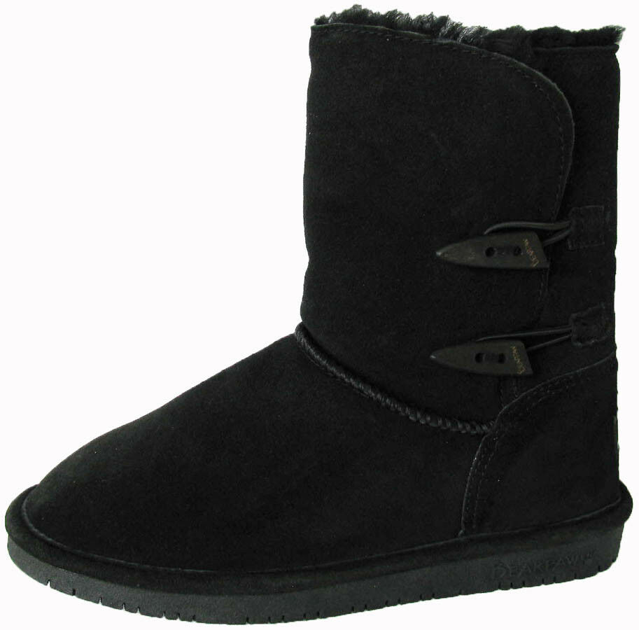 $75 Bearpaw Womens Abigail Suede Sheepskin Boot Shoe, Black, US 7