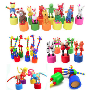 Developmental Control By Wire Dancing Stand Colorful Rocking Dinosaur Wooden Toy