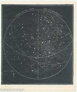 ANTIQUE-PRINT-VINTAGE-1889-ASTRONOMY-STAR-PLANETS-CELESTIAL-VISIBLE-HEAVENS-JULY