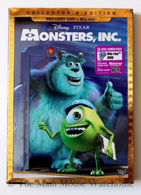 Opened Disney Pixar Monsters Inc. DVD Blu-ray Collector's Edition with Slipcover