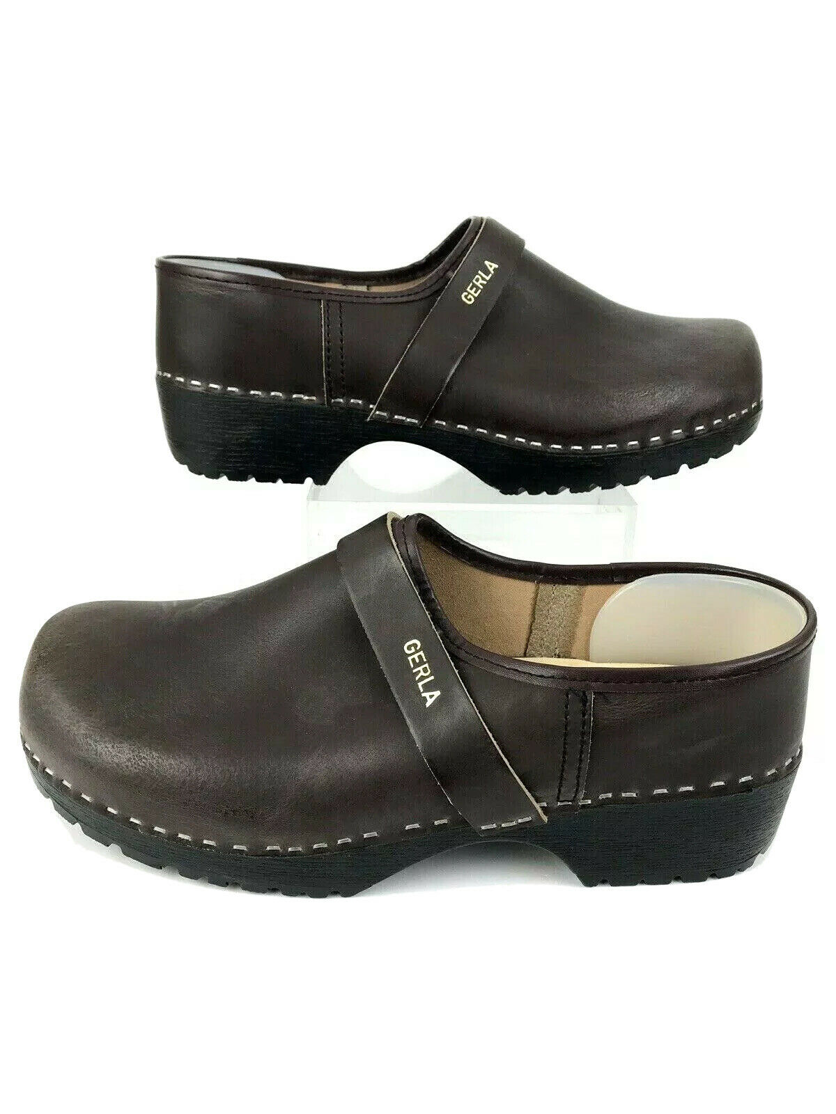 Mens Gerla Leather Shoes Wood Insoles Brown Made in Holland EUR Size 46