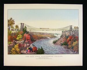 Currier-amp-Ives-Print-Railroad-Suspension-Bridge-Niagara-Falls-New-York-Canada