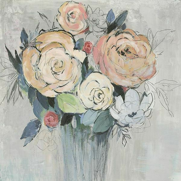 Asia Jensen  Glowing Heart Keilrahmen-Bild Leinwand Blaumen Strauß Vase bunt