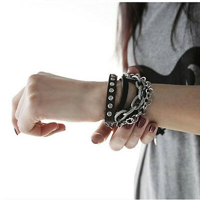 Gothic Punk Fashion Multi-tier Cool Leather Bangle Wristband Chain Stud Bracelet
