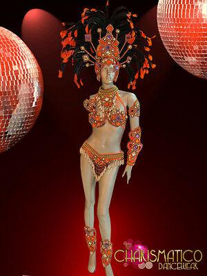 CHARISMATICO Orange Samba costume and Headdress with white and purple accents