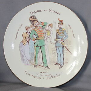 BEAUTIFUL-FRENCH-POTTERY-LUNEVILLE-PLATE-034-RUSSIAN-amp-FRENCH-034-034-FRANCE-amp-RUSSIE-034-A