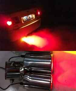 Image is loading Red-LED-Fake-Flame-Effect-Twin-Muffler-Exhaust- & Red LED Fake Flame Effect Twin Muffler Exhaust Pipe Tip (Silver) for ...