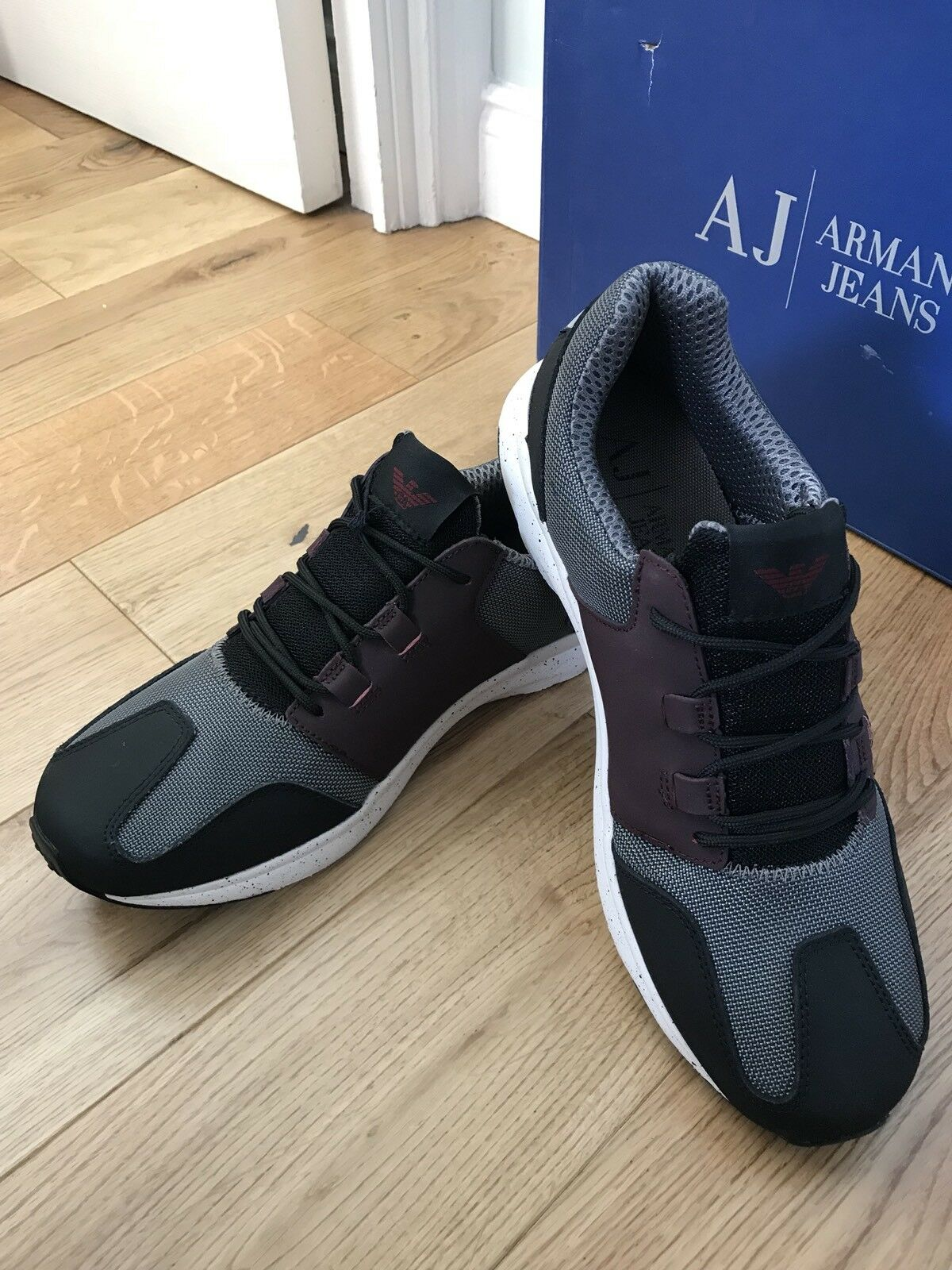 Armani Jeans  Uomo Schuhes Retro Antracite Sneakers Training Schuhes Uomo Uk 10 Eu 44 New db3f45