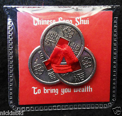 CHINESE FENG SHUI MONEY CURE 3 COINS TIED WITH RED RIBBON BRING FINANCIAL LUCK