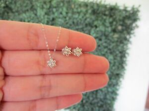 SALE‼️.66 CTW Diamond Earrings & Necklace Set 18k White Gold JS133 sep