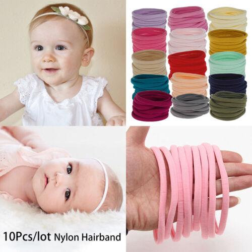 10Pcs Soft Thin Nylon Headband Stretchy Hair Bands Kid Girl DIY Hair Accessories