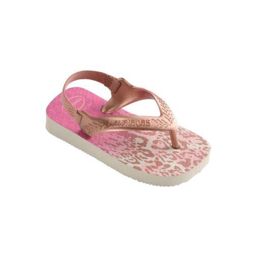 Havaianas Kids Baby Chic White Golden Blus Rubber Flip Flops Sandal All Sizes