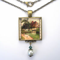 English England Country Thatch Cottage Vintage Charm Bronze Or Silver Necklace