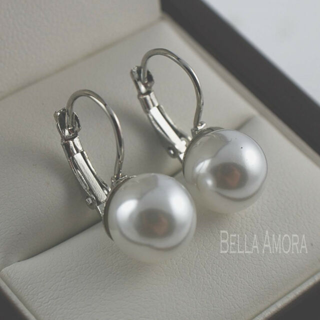 Elegant 9ct White Gold Plated Bridal Faux Pearl Dangle Drop Earrings Uk New 203