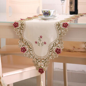 Image Is Loading Yazi Embroidered Table Runner Cutwork Flower Satin Fabric