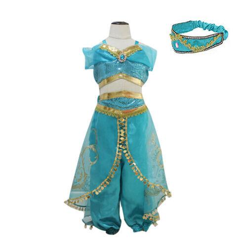 Princess jasmine Costume Outfit for Kids Girls Aladdin  Fancy Dress Split suit
