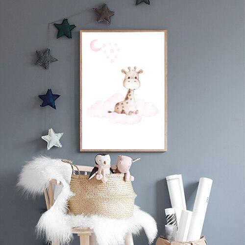 Animal Elephant Bunny Canvas Poster Nursery Quotes Print Baby Kids Bedroom Decor