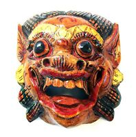 Wooden Monkey Mask Of Barong, Natural Color,hand-carved In Bali, Wall Mask,