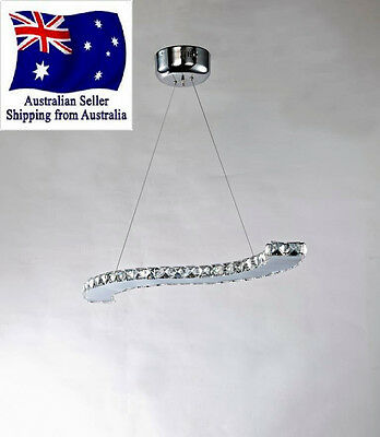Crystal LED Chandelier Ceiling Pendant Light Modern Bar Table Lighting Curved