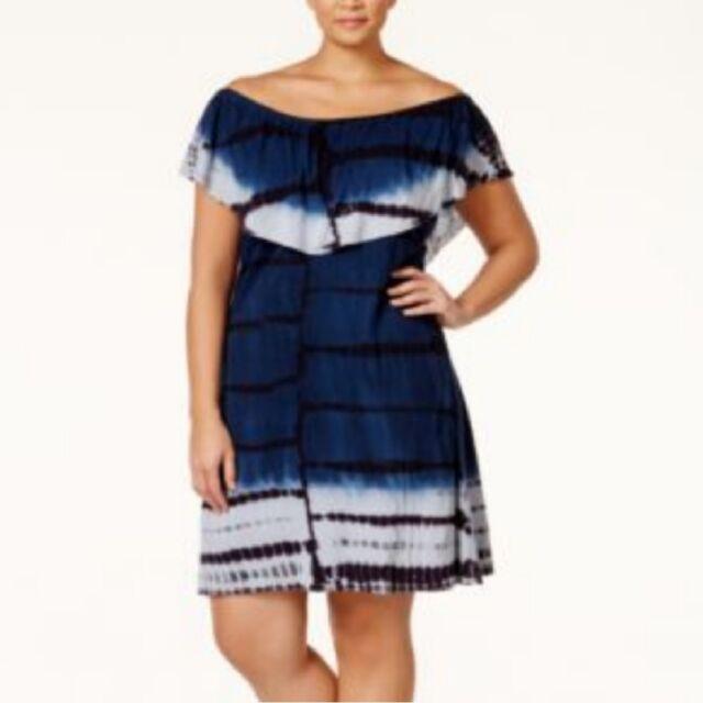 Nwt Nanette Lepore Blue Black Tie-Dye Off Shoulder 2X Plus Size Dress