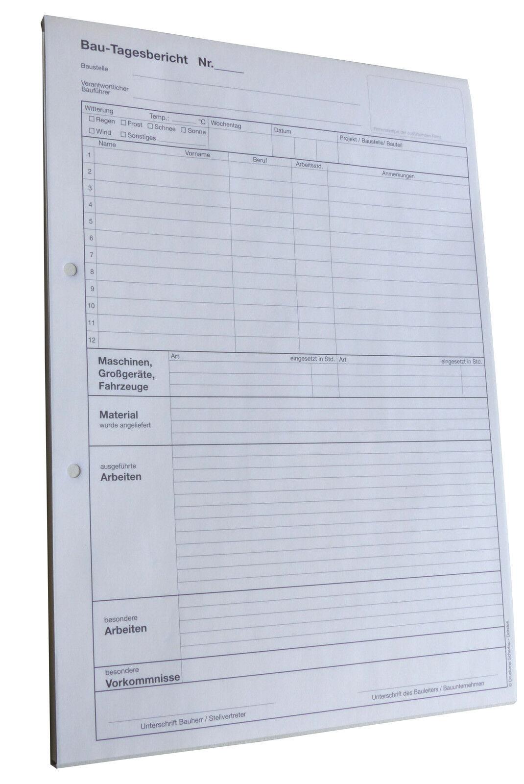 A4 BAUTAGEBUCH, Bau-Tagesbericht SD 3x30 (22205) (22205) (22205)  oder 2x50 (22235) Blatt | Berühmter Laden  | Reichhaltiges Design  3fa6fc