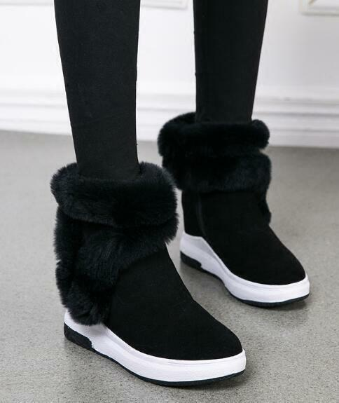Womens Faux Fur Round Toe Fleece Lining Ankle High Hidden Heels Snow Boots