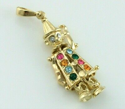 Lovely 9ct Yellow Gold Articulated Clown Charm / Pendant