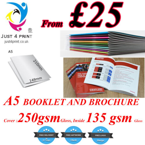 Inside135GSM Gloss A5 Stapled Brochures Booklet Printing Cover 250GSM