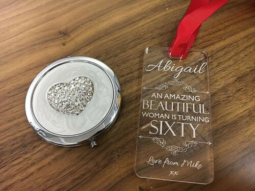 Personalised 30th,40th,50th,60th Birthday Gift Handbag Mirror /& Keepsake Plaque