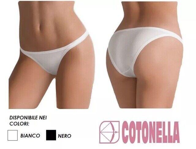12 Slip donna vita bassa Cotonella 3487 in cotone bielastico colore nero