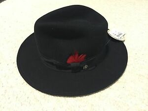 e5eced9712360 Details about NEW STETSON Made In USA Dri-Lex Crushable Black 100% Wool  Fedora HAT Size Small