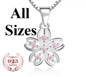 925-Sterling-Silver-Womens-18-20-24-30-Inch-Chain-Necklace-Flower-Pendant-D677V