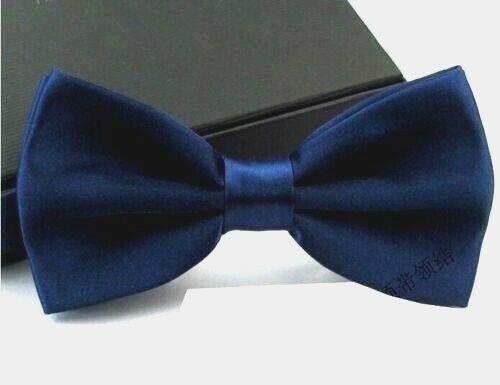 New Tuxedo PreTied Navy Blue Bow Tie Satin Matching Adjustable Band  US SELLER