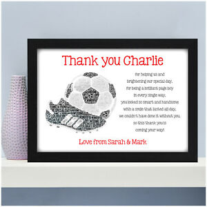 Page Boy Personalised Thank You Gifts Footballer Football Boy Gifts for Page Boy