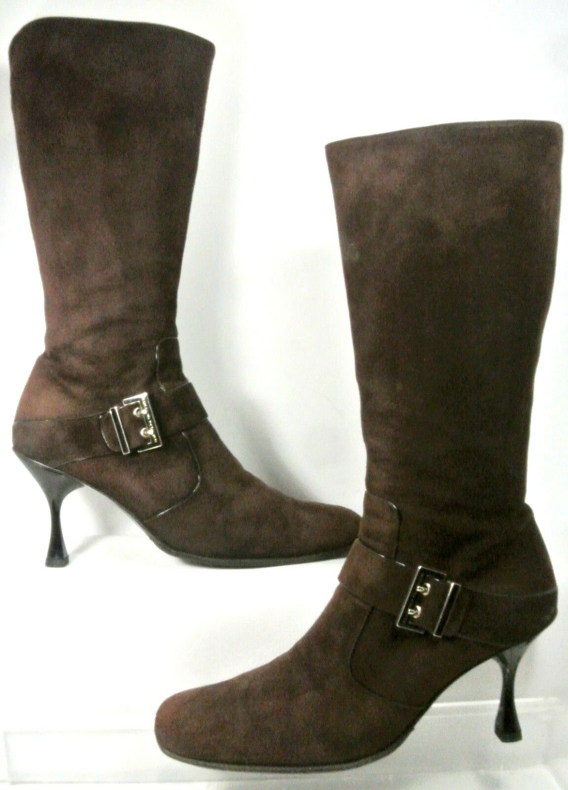 Luciano Padovan Brown Suede Buckle Strap High Heel Boot Women US10 Made in