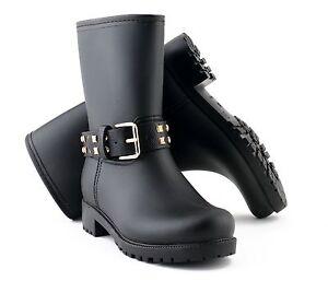 Evercreatures PVC Ladies Wellies Winter Boots Designer Mid-Calf Biker Wellys